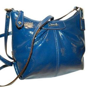 New COACH Ashley Cobalt Blue Patent Crossbody Bag